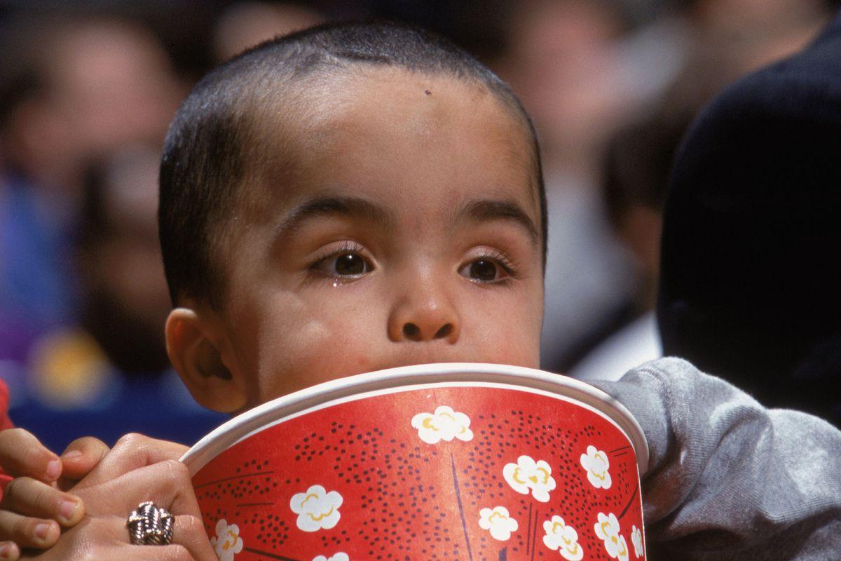 T.J. Kidd eats popcorn.
