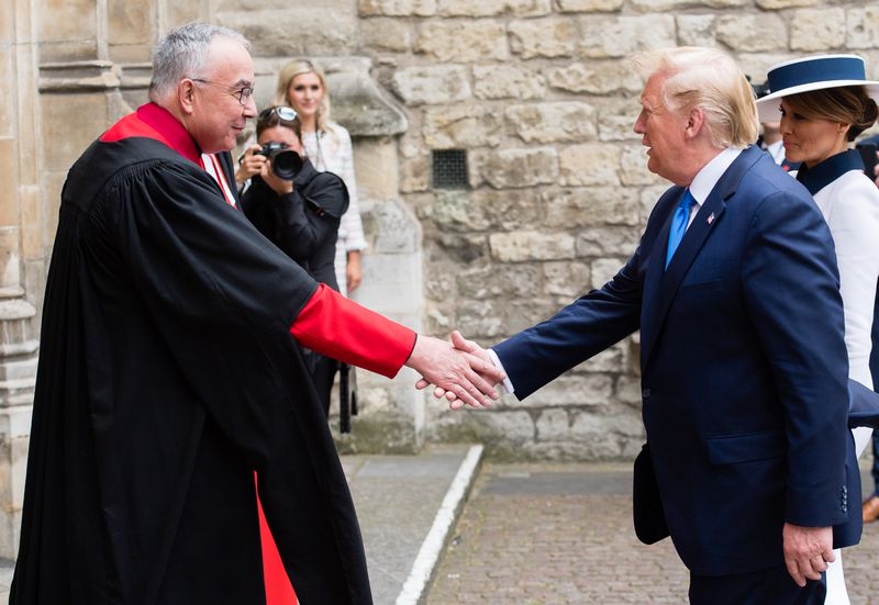 President Donald Trump and First Lady Melania Trump are greeted at Westminster Abbey by the abbey dean, the Very Rev. Dr. John Hall, on June 03, 2019, in London, England.