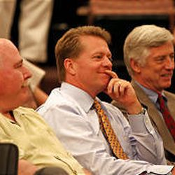 Sandy Mayor Tom Dolan, Dave Checketts and Salt Lake City Mayor Rocky Anderson listen as County Council discusses stadium plan.