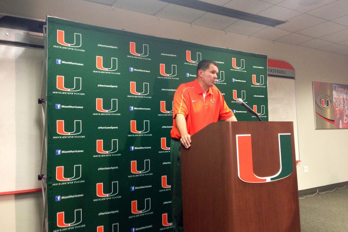 Miami Hurricanes Head Football Coach Al Golden addresses the media gathered during his weekly press conference before the Hurricanes take on Virginia Tech on November 1st, 2012