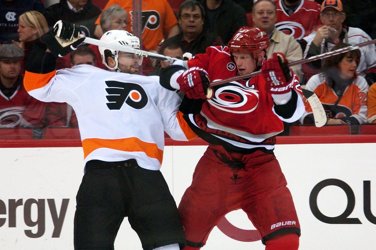 January 10, 2012. Carolina Hurricanes vs. Philadelphia Flyers, RBC Center, Raleigh, NC