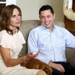 Julie Chaffetz and her husband, Rep. Jason Chaffetz, R-Utah, discuss his resignation at their home in Alpine on Thursday, May 18, 2017. Between them is their dog, Ruby.