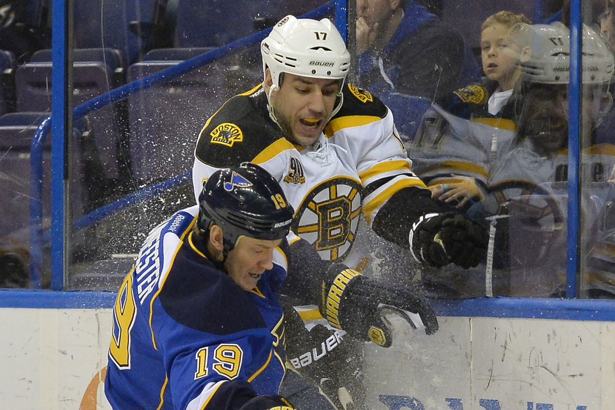MIlan Lucic battles it out along the boards