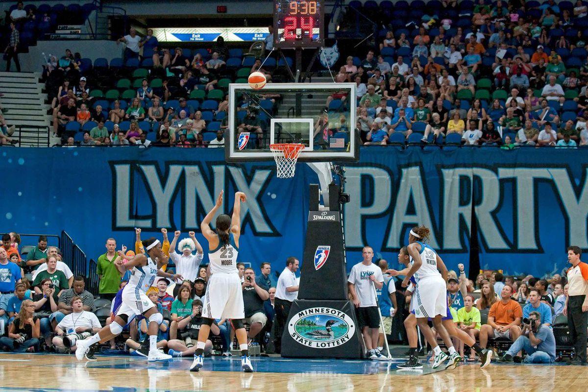 Jun 27, 2012; Minneapolis, MN, USA; Minnesota Lynx forward Maya Moore (23) shoots a free throw against the Phoenix Mercury during the second quarter at Target Center. Lynx won 96-80. Mandatory Credit:  Greg Smith-US PRESSWIRE