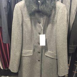 Women's fur-lined wool coat, $395