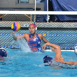 Tumua Anae blocks a ball against an opposing team. Anae is vying for a goalkeeper position on the 2012 USA Olympic team.