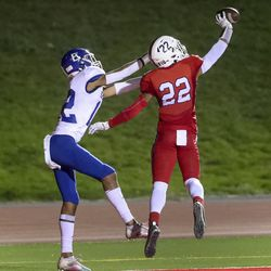 East's Mapa Vaenuku, right, knocks a pass away from Bingham's Isaiah Glasker in the end zone during game at East High School in Salt Lake City on Friday, Sept. 25, 2020.