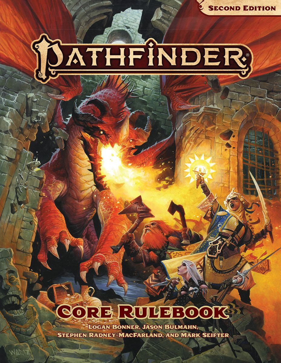 The cover of the new Pathfinder Core Rulebook shows heroes fighting against an ancient red dragon, which is bursting through the side of a decrepit castle. Flames fill the frame, while a female cleric with an exotic sword casts a spell through a holy reli