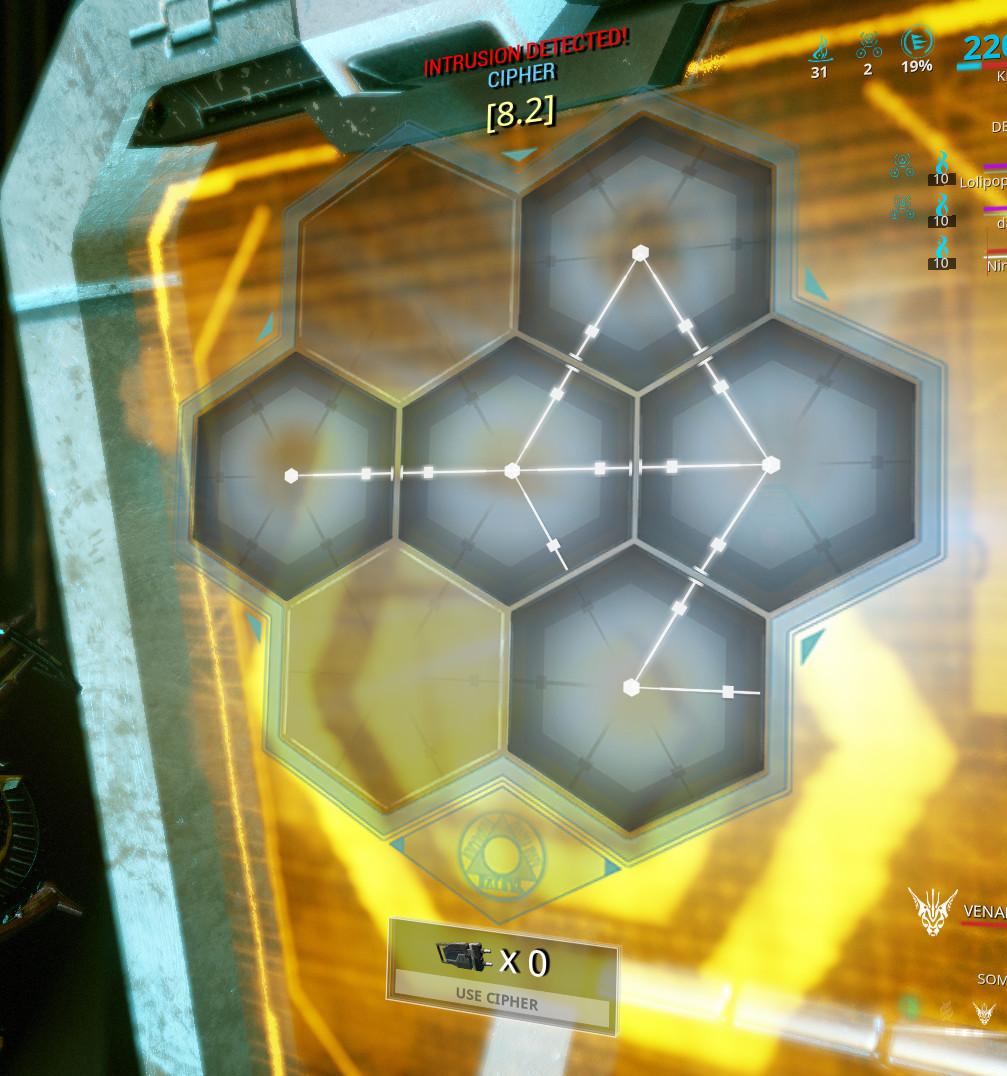 Warframe - a shot of the Corpus hacking minigame.
