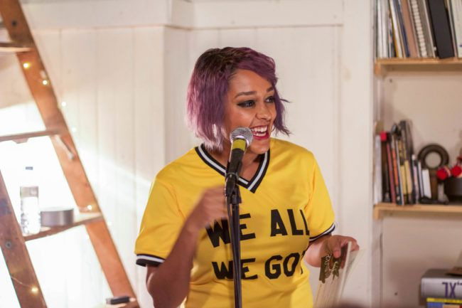 """Eve Ewing reading from her first book, a collection of poetry titled """"Electric Arches."""""""