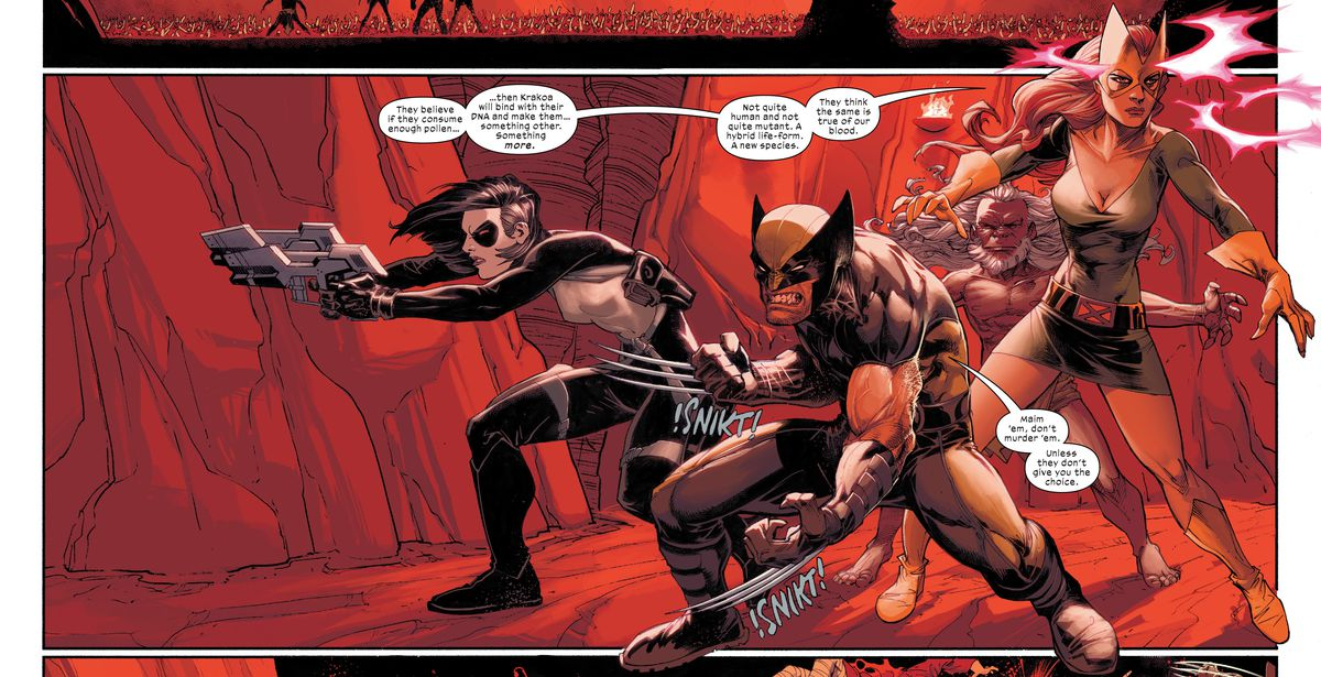 LTR: Domino, Wolverine, Gateway, and Jean Grey ready for battle in a cave in Wolverine #1, Marvel Comics (2020).