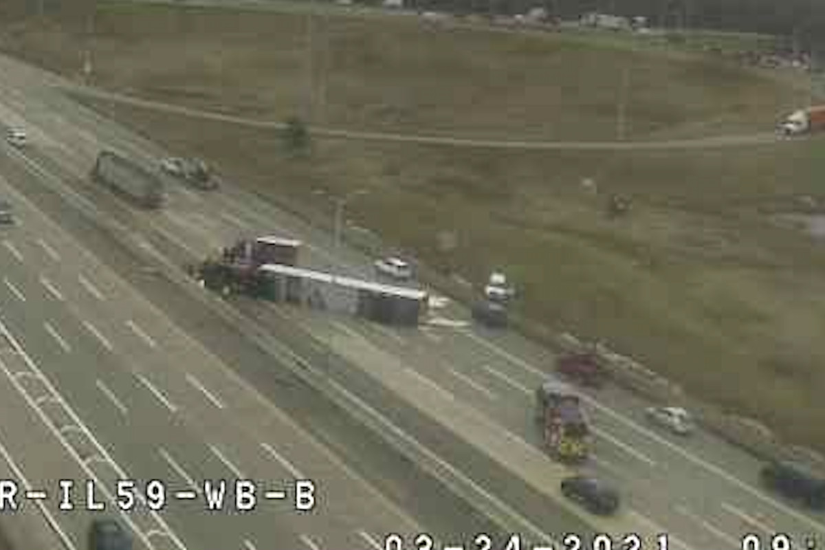 Traffic camera video showed an overturned semitrailer on the Jane Addams Tollway near Route 59 on March 24.