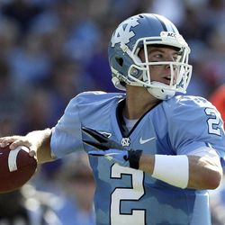 North Carolina quarterback Bryn Renner (2) looks to pass against East Carolina during the first half of an NCAA college football game in Chapel Hill, N.C., Saturday, Sept. 22, 2012.