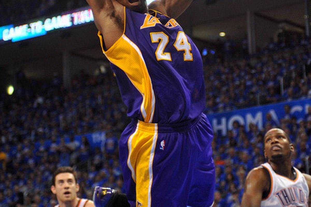 Kobe Bryant hopes the Princeton offense will produce a lot of dunkshots.  Mandatory Credit: Mark D. Smith-US PRESSWIRE