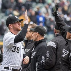 White Sox pitcher Aaron Bummer enters the field at the season opener against the Detroit Tigers at Guaranteed Rate Field Thursday, April 5. | Erin Brown/Sun-Times