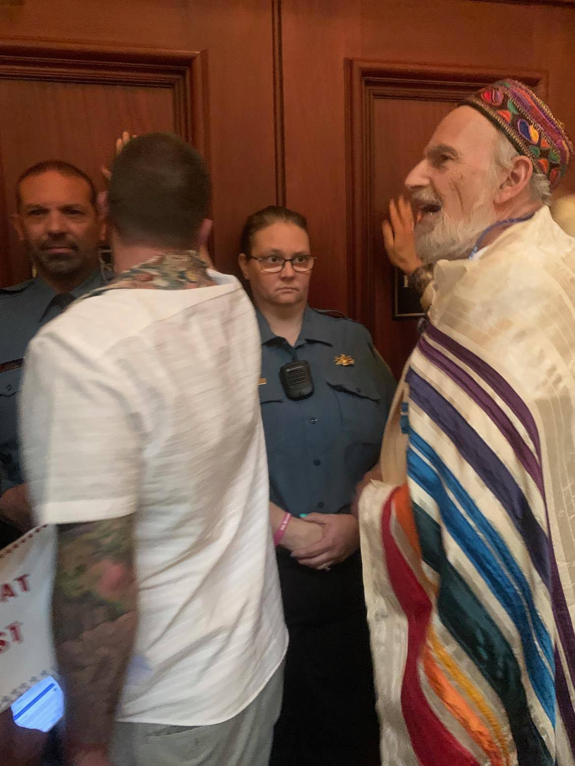 Rabbi Mordecai Liebling protests at the state capitol in Harrisburg
