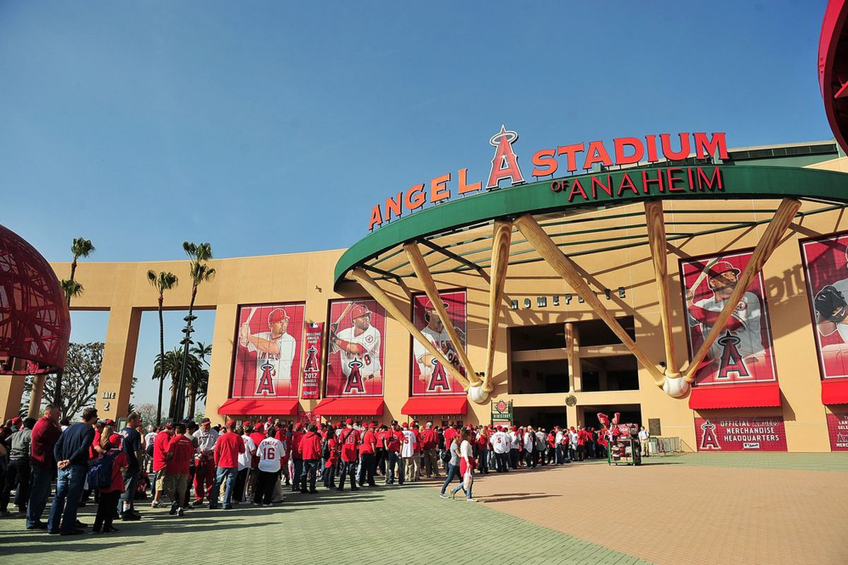 April 6, 2012; Anaheim, CA, USA; Fans line outside the games of Angel Stadium before entering to watch the Los Angeles Angels play against the Kansas City Royals. Mandatory Credit: Gary A. Vasquez-US PRESSWIRE