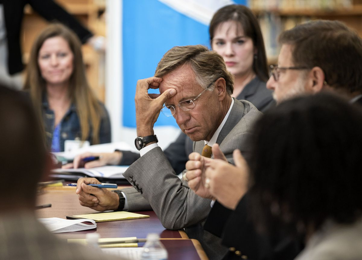 Gov. Bill Haslam listens during his Sept. 4 roundtable discussion. An advisory team is using the feedback to develop principles and recommendations for consideration by his and the next administration.