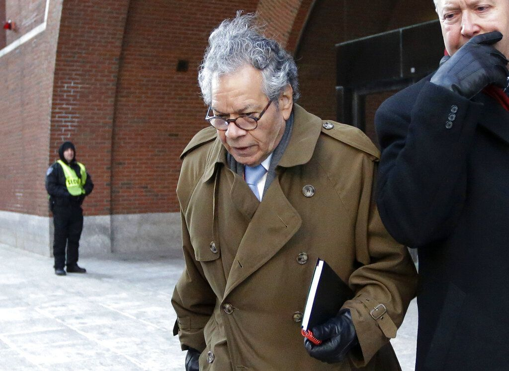 In this Jan. 30, 2019, file photo, Insys Therapeutics founder John Kapoor leaves federal court in Boston. On Thursday, May 2, 2019, Kapoor was found guilty in a scheme to bribe doctors to boost sales of a highly addictive fentanyl spray meant for cancer p