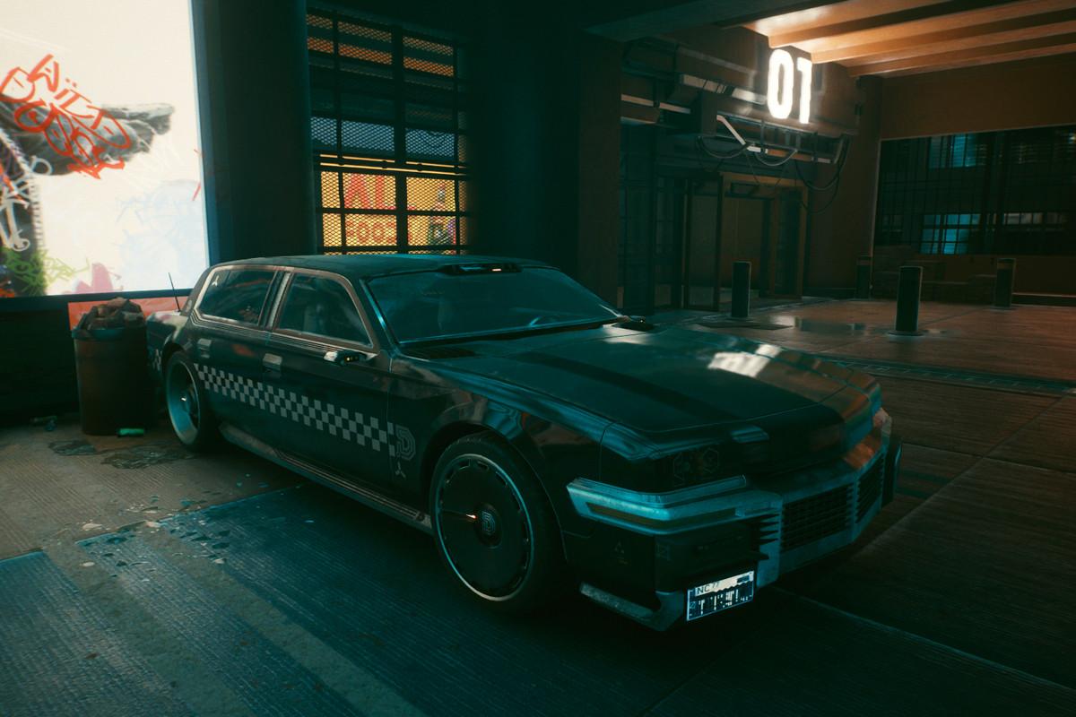 A Delamain cab in Cyberpunk 2077