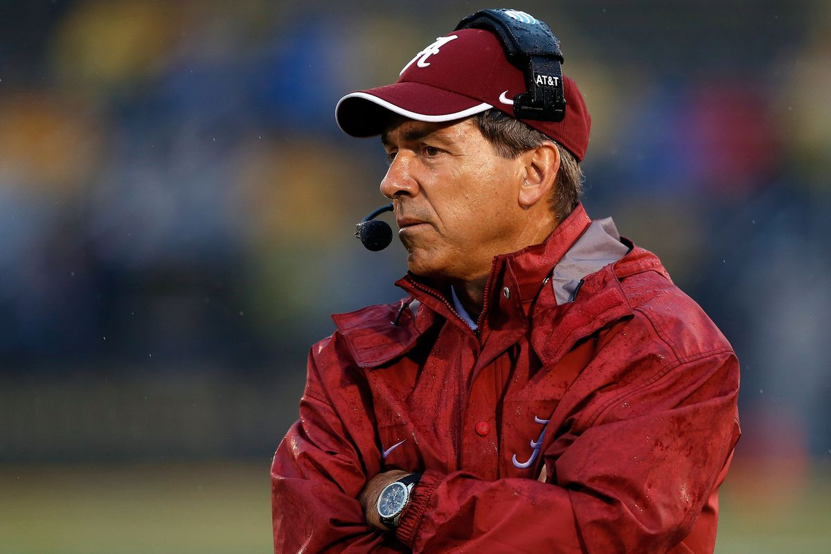 Nick Saban uses his telepathic powers to try to will Baylor over Kansas State.