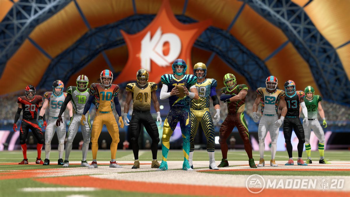 11 players lined up in Madden NFL 20's Superstar KO mode