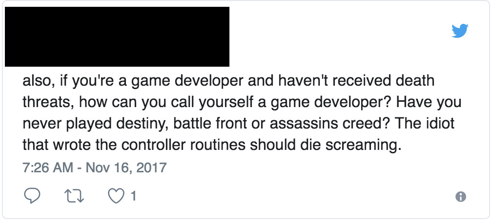 tweet advocating death threats to game developers