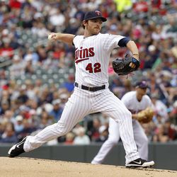 Minnesota Twins starting pitcher Liam Hendriks throws against theTexas Rangers during the first inning of a baseball game on Sunday, April 15, 2012, in Minneapolis. The players were all wearing No. 42 in honor of Jackie Robinson Day.