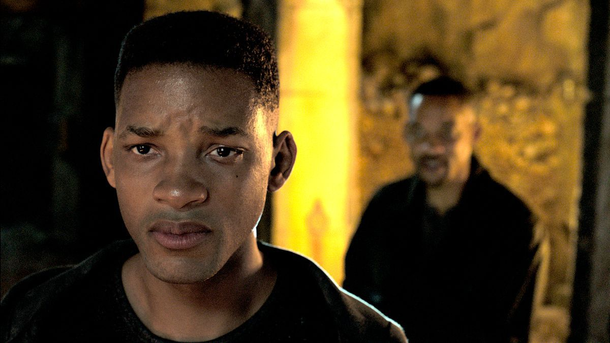 A scene from the movie Gemini Man, with Will Smith as both his younger self and his older self.