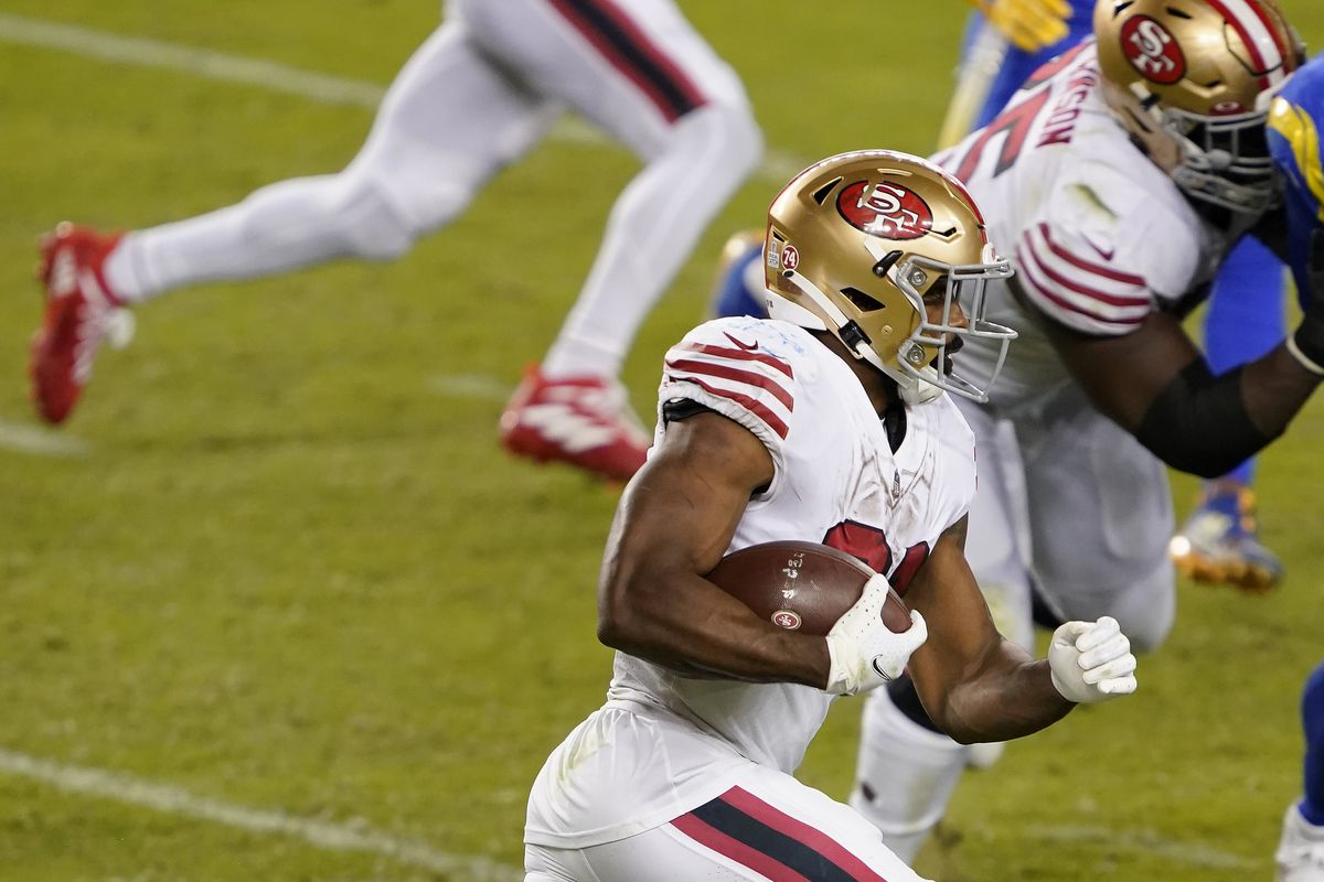 Raheem Mostert #31 of the San Francisco 49ers carries the ball against the Los Angeles Rams during the third quarter of their NFL football game at Levi's Stadium on October 18, 2020 in Santa Clara, California.