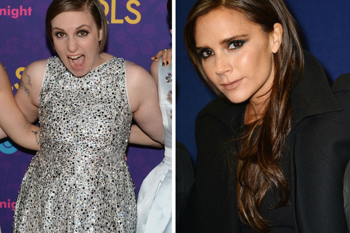 The correct face to wear if a former Spice Girl wants to be on your show, as demonstrated by Lena Dunham. Photos via Getty