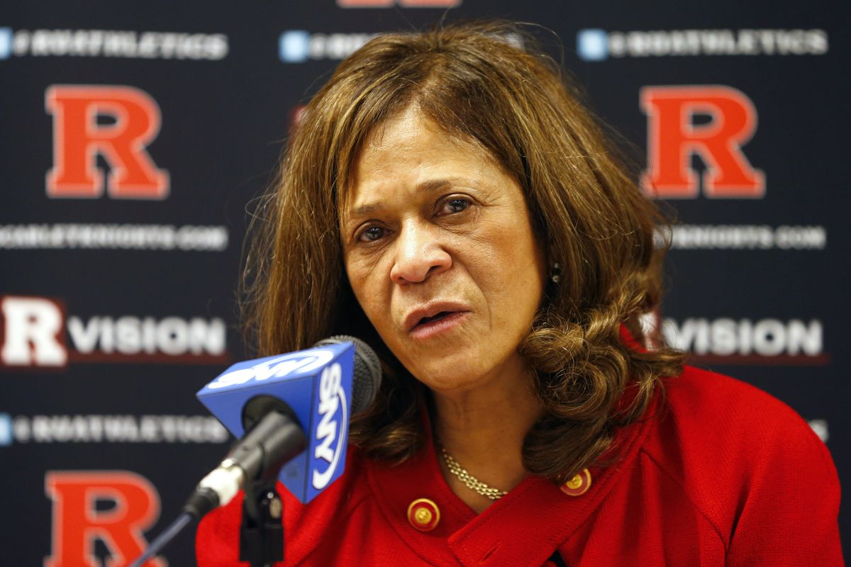 PISCATAWAY, NJ - FEBRUARY 26: Head coach C. Vivian Stringer of the Rutgers Scarlet Knights talks during her post game press conference after defeating the South Florida Bulls 68-56 in a game at the Louis Brown Athletic Center on February 26, 2013 in Piscataway, New Jersey. The win was Stringers' 900th in her career. (Photo by Rich Schultz /Getty Images)