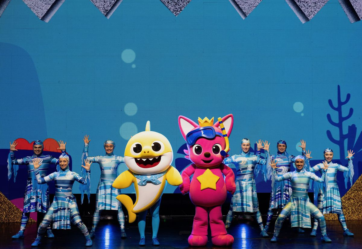 """""""Baby Shark Live!"""" features songs brought to life via a handful of costumed performers, cartoon-like puppets and a large LED video screen."""