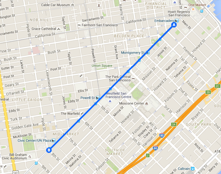Map of SF Pride parade route.