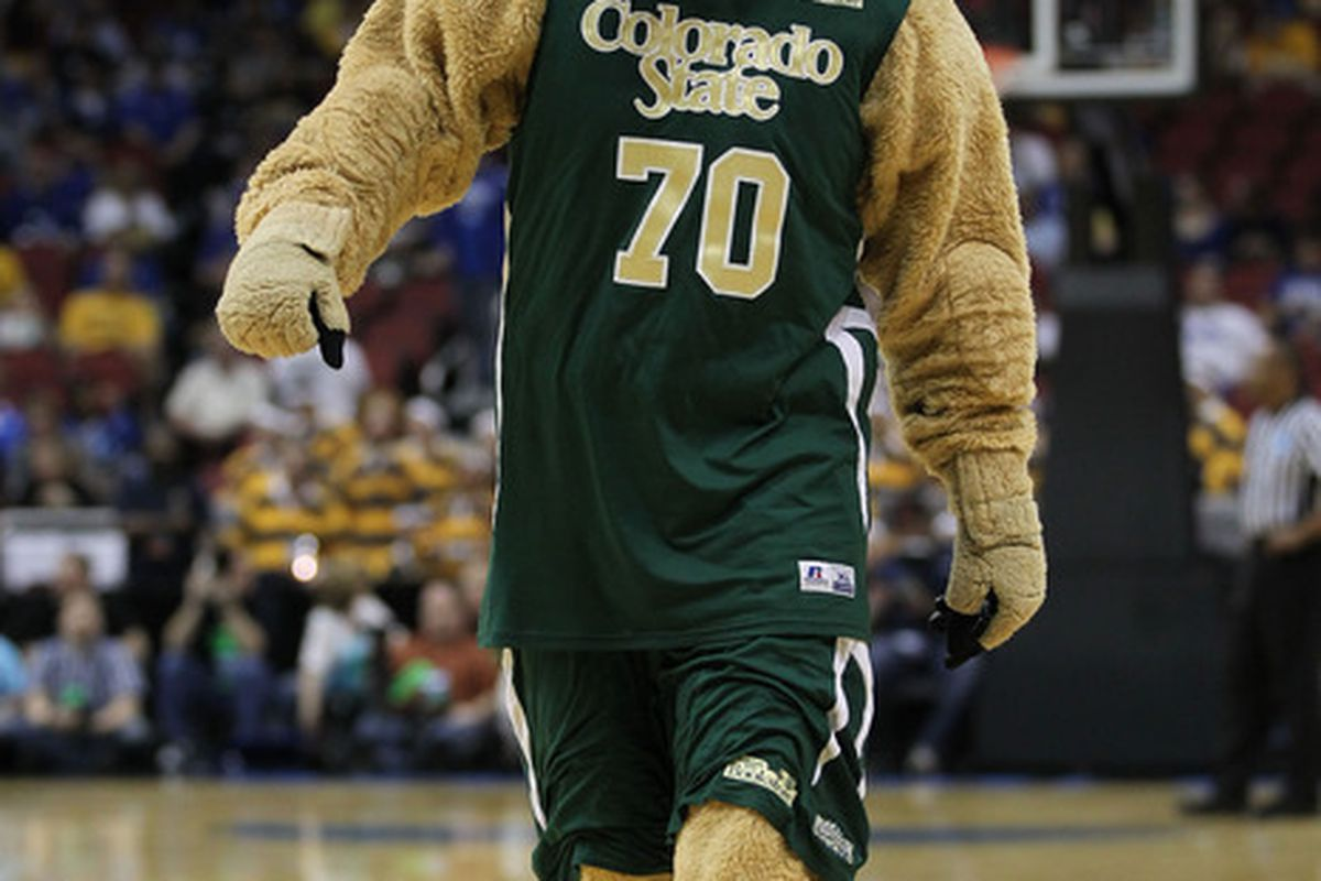 LOUISVILLE, KY - MARCH 15:  The mascot for the Colorado State Rams performs during the second round of the 2012 NCAA Men's Basketball Tournament at KFC YUM! Center on March 15, 2012 in Louisville, Kentucky.  (Photo by Jonathan Daniel/Getty Images)