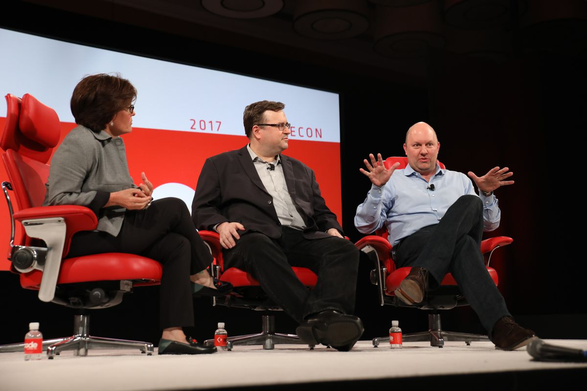 Kara Swisher, Reid Hoffman and Marc Andreessen sit onstage at the 2017 Code conference.