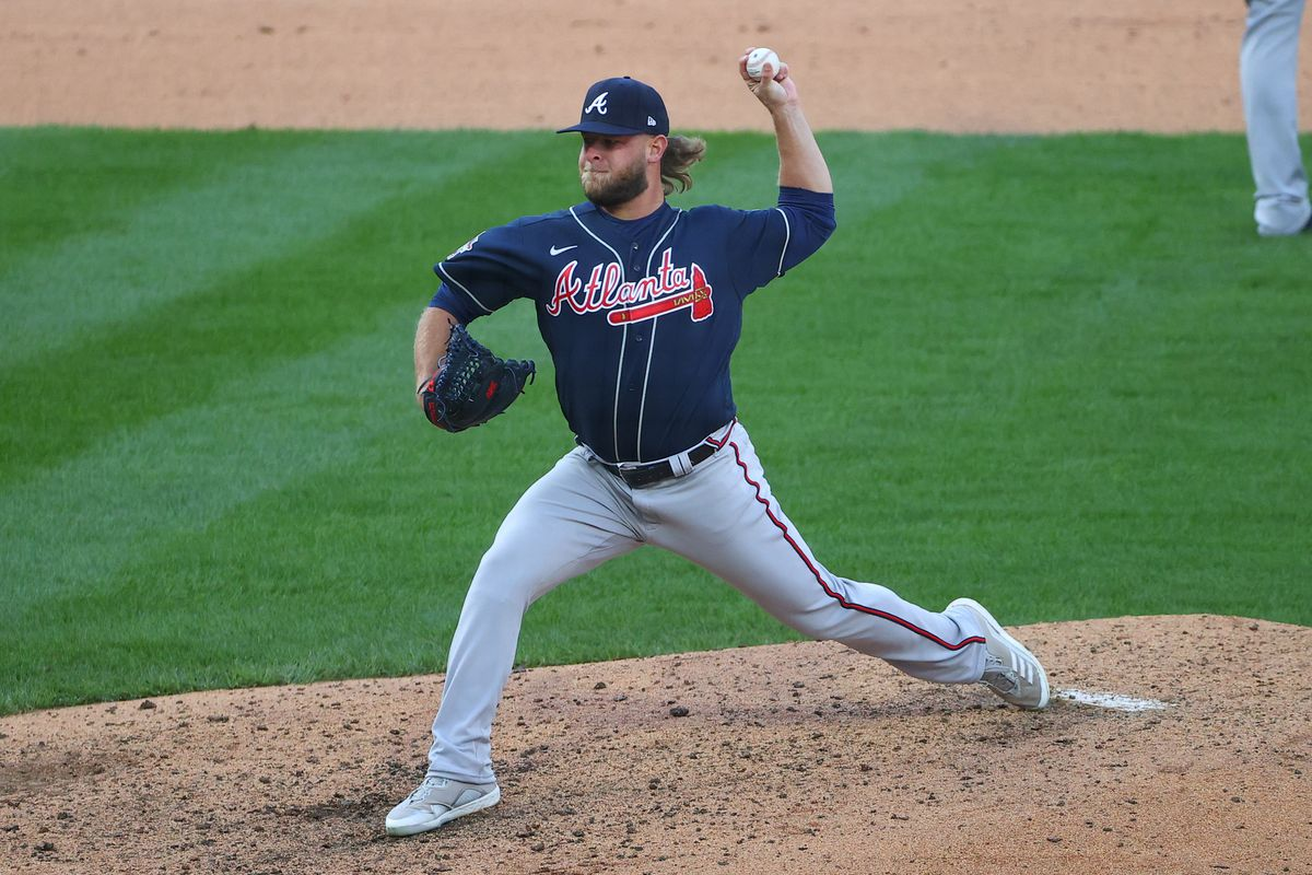 Atlanta Braves relief pitcher A.J. Minter (33) pitches during the Major League Baseball game between the Philadelphia Phillies and the Atlanta Braves on April 1, 2021 at Citizens Bank Park in Philadelphia, PA.