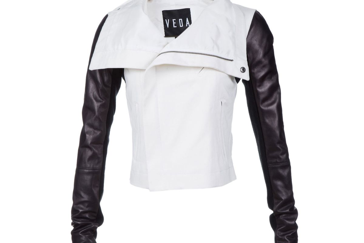 """Veda Canvas &amp; Leather Jacket at Scoop NYC, <a href=""""http://www.scoopnyc.com/canvas-and-leather-jacket.html"""">$498</a>"""