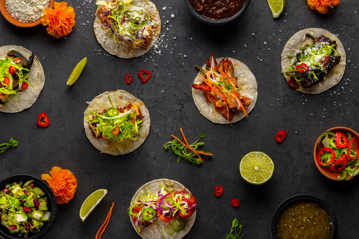 An overhead view of tacos