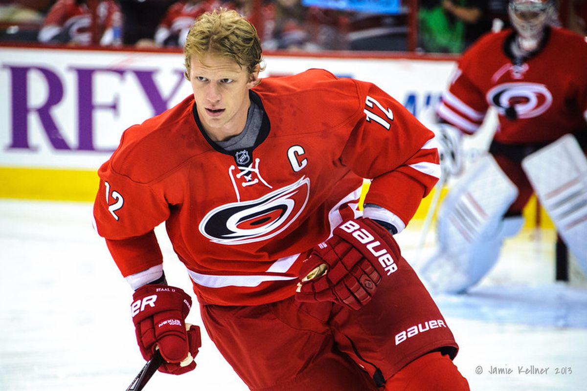 Eric Staal during warm-ups against the Philedelphia Flyers 10.6.13
