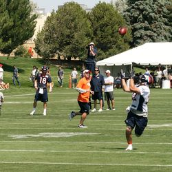 Jacob Hester finds himself in a great spot for a Peyton Manning completion during training camp's second day.