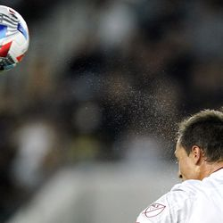Real Salt Lake defender Donny Toia heads the ball during the second half of a Major League Soccer match against Los Angeles FC Saturday, July 17, 2021, in Los Angeles. LAFC won 2-1.