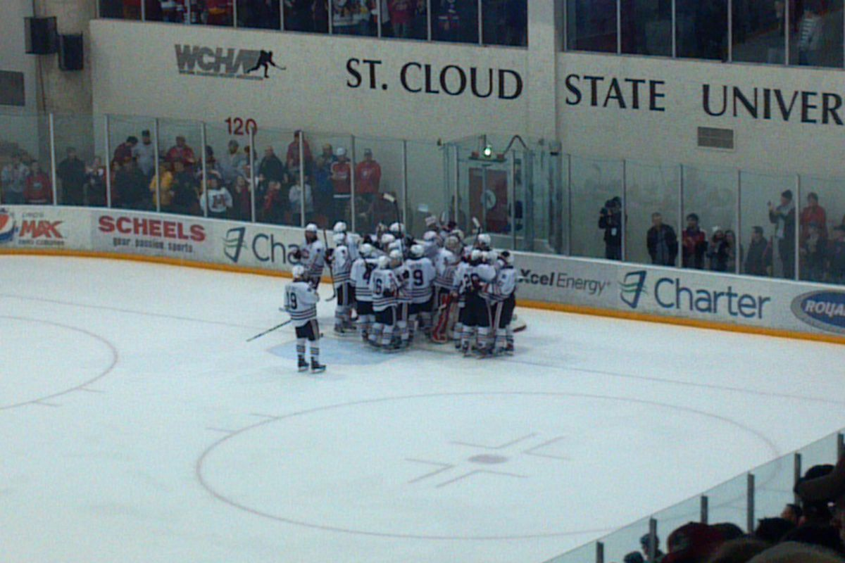 St. Cloud State celebrating their 4-3 win Saturday