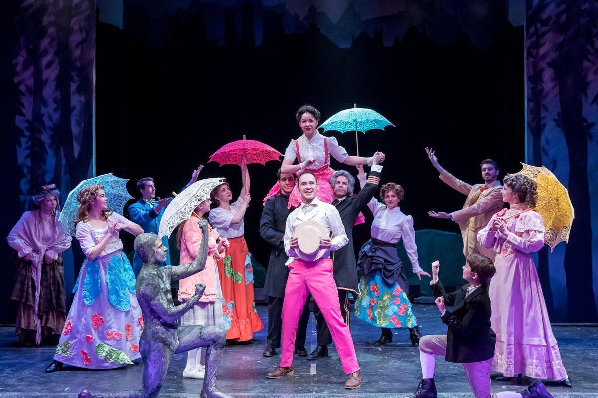 """The cast of the Mercury Theater Chicago production of """"Mary Poppins"""" with Matt Crowle (center) as Bert and NicoleArmold (aloft) as the title character. (Photo: Brett A. Beiner)"""