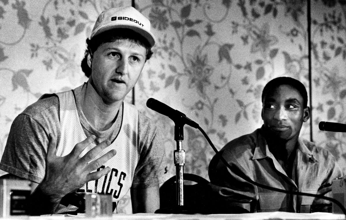Larry Bird And Isiah Thomas Hold Press Conference