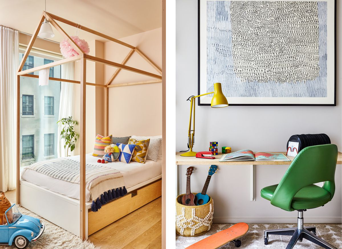 From left to right: a wooden bed frame in a kid's room, a wooden desk with a bright green chair and bright yellow desk lamp.