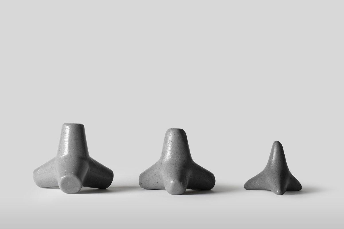 Three sizes of concrete soap