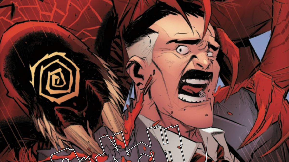 Miles Morales, merged with a Carnage symbiote, sinks mandibles into Jonah Jameson's shoulder, in Absolute Carnage: Miles Morales #2, Marvel Comics (2019).