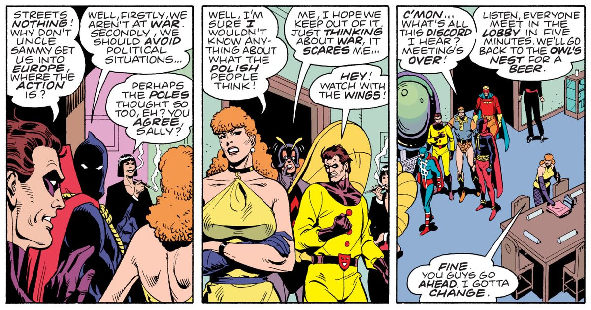 The Minutemen; including the Comedian, Hooded Justice, the Silhouette, Silk Spectre, Mothman, and Nite Owl; discuss pre-WWII politics in panels from Watchmen, DC Comics (1986).