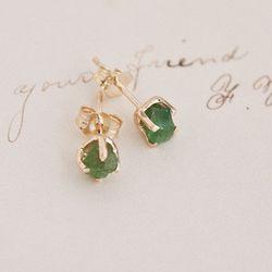 Raw Emerald Earrings, $425